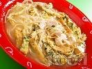 Рецепта Пилешка супа със спагети и омлет